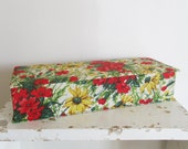 Vintage french sewing box, Fabric covered jewelry stocking box, 1950, Boite à couture tissu, France, Mid century