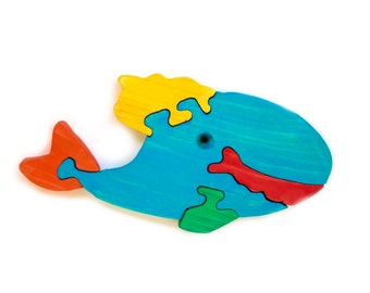 Puzzle Whale wooden toys, wooden animal puzzle, eco-friendly handmade toys for babies, children, kids, boys and girls