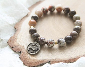 Jasper Aries Zodiac Bracelet, Constellation Bracelet, Horoscope Astrology Bracelet