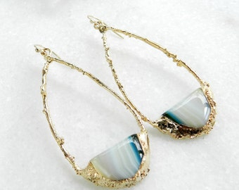 agate earrings, agate hoops, gold earrings, gold filled, gold hoops, long earrings, green agate, gifts for her, agate jewelry