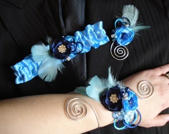 CUSTOM BUILD A SET Prom or Homecoming, Custom Prom corsage, boutonniere and garter set, Custom Prom Sets, Prom Accessories, Alternative Prom