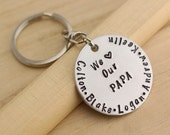 Personalized Mens  Unisex Keychain Key Ring Gift for PAPA Grandfather or Stepfather Daddy Jewelry We love our PAPA Fathers Day Gift for Dad