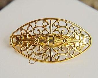 5pcs Brass  plating gold  flower Filigree hair comb  pin  finding