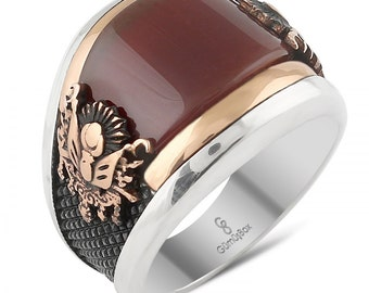 925 Sterling Silver Genuine  Agate/Aqeeq Mens Ring...Express Delivery