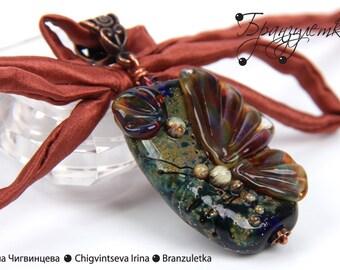 Night Butterfly - Pendant artisan big Lampwork bead - Focal bead collection - silk ribbon