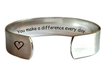Teacher Gift | Gift for Teachers | Daycare Gift | Babysitter Gift | Nanny Gift | You make a difference every day...Bracelet