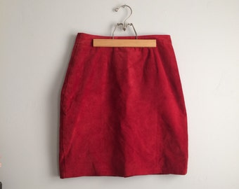 Vintage Red Suede Skirt / 80s 90s Red Mini Skirt / Red Suede Mini Skirt / Vintage Leather Skirt
