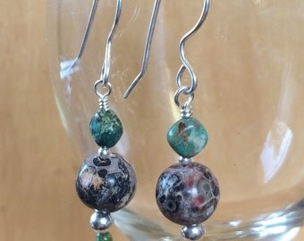 Leopard Skin Jasper, Turquoise and Silver Beads All Sterling Silver All Handmade