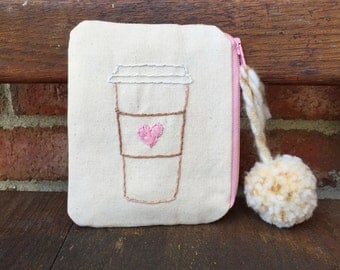Coffee Love Wallet // Handmade // Hand-embroidered // Change Purse // Momogram // Custom // Business Card Holder // ID and Credit Card