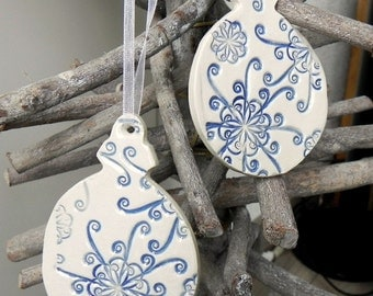 Ornaments Pottery Blue White Lace Decoration Ceramic Ornament Set of 2 Wedding Gift