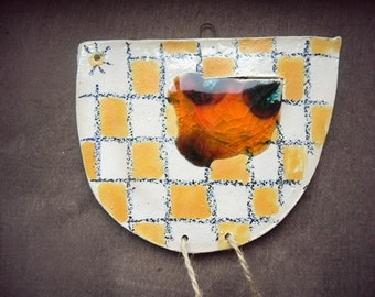 Easter Decoration Chicken Ceramic Ornament  Easter Yellow Squares Recycled Glass Eco Friendly Animal Pottery