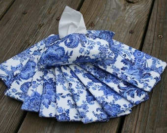Set of 10 Blue Floral with Metallic Thread Travel Tissue Holder, Tissue Pouch, Tissue Cozy