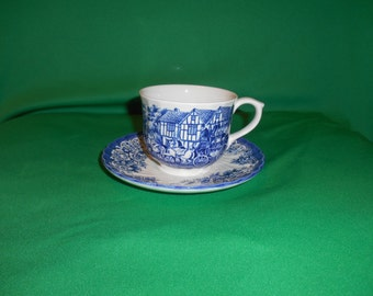 "One (1), 2 7/8"" Flat Cup & Saucer, from Barratt's, in the BTT 35 Pattern."