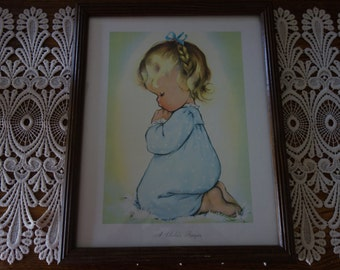 Vintage Pictures, A Child's Prayer, Wall Decor, Framed Prints, Home Decor, Little Girl, Nursery Decor, Prayer Picture,  Religious Pictures