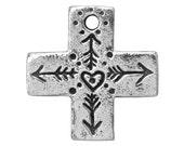 Green Girl Heart Cross 15/16 inch ( 25 mm ) Pewter Dangle Charm Pendant
