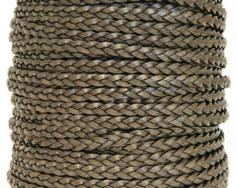 Flat Braided Leather Cord 3 Strand 2 mm Kansa Color (Length: 3 Yards)
