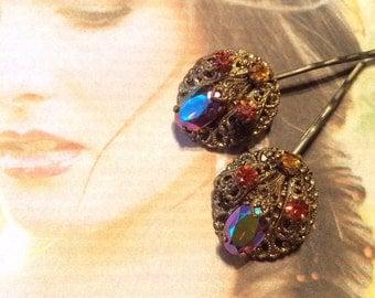 Bridal Hair Pins Jewelry Vintage Art Deco West Germany Topaz AB Aurora Borealis Filigree Bobby Pins