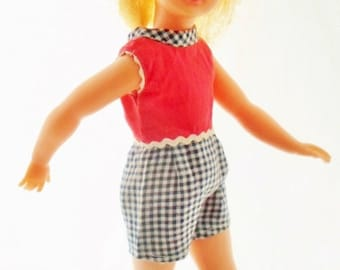ON SALE Vintage 1964 Ideal Pepper Doll, Tammy's Little Sister, Rare Lemon Blonde Hair, Original Tagged Outfit, Straight Legs, Original Shoes