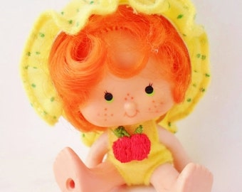 ON SALE Vintage 1979 Apple Dumpling Doll, Made in Hong Kong, Strawberry Shortcake Doll, Original Clothes, Yellow, Green, Red, Baby