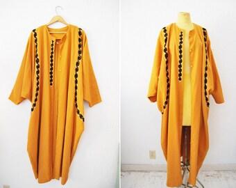 Vintage Oversized Mustard Yellow Embroidered Kimono Cape Duster Jacket Batwinged Sleeves Artistic Hippie Boho Bohemian