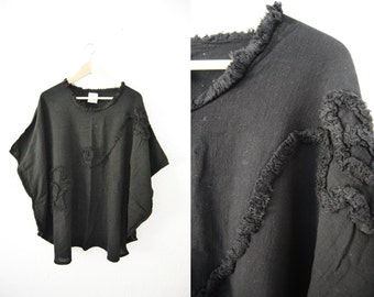 Vintage Black Rayon Chenille Embroidered Oversized Batwinged Top Shirt Kaftan