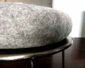 Cookies and Cream Macaron Wool Felted Pillow, Wool Round Cushion/ felted wool Ottoman, Round felted cushion, Slow Desisgn - momoish made