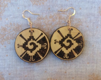 Woodburned Earrings ~  Double sided ~ Mayan Symbology ~ Maya ~ Ancient Traditional Indigenous  ~ Black and White ~ MADE TO ORDER