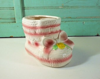 Vintage Pink and White Baby Bootie Planter Rubens Made in Japan Nursery Planter