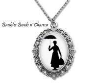 Mary Poppins Literary Necklace, Mary Poppins Pendant, Mary Poppins Jewelry, Mary Poppins Book Necklace, Literary Necklace, Literary Jewelry