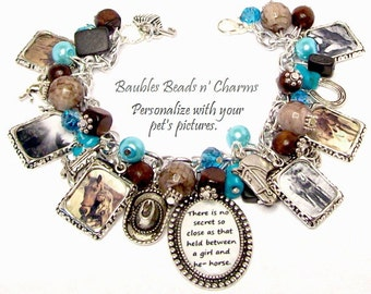 Personalized Horse Charm Bracelet Jewelry, Custom Horse  Photo Charm Bracelet, Your Horse's Photos, Horse Memorial Charm Bracelet