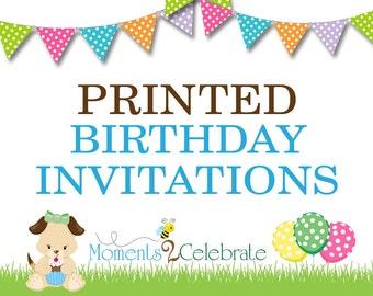 Printed Birthday Invitations, Physical Birthday Invitations, Custom Birthday Invitations
