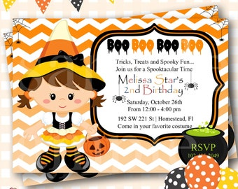 Halloween Birthday Invitations, Candy Corn Witch Birthday, Halloween Birthday Invites, Witch Birthday Invitations, Halloween Invite - H31