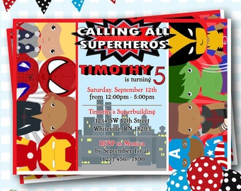 Superhero Invitations, Superhero Birthday Invitations, Super Hero Birthday Invites, Superheros Party Invitations, Marvel Invitations - S001