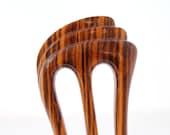 Wooden hair fork, Hair comb, 3 prong, Hair sticks, Wood, Zebrawood, Zebrano, Hairpin, Handmade, Hair accessory, WoodArtJewelry