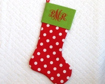 CHRISTMAS STOCKING / Ships Priority Mail on Monday / Personalize / Pick Your Font / Polka Dot / Christmas Stocking / Monogram Stocking