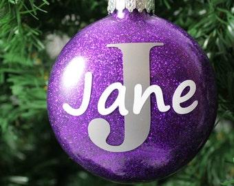 Purple Glitter Personalized Glass Ornament