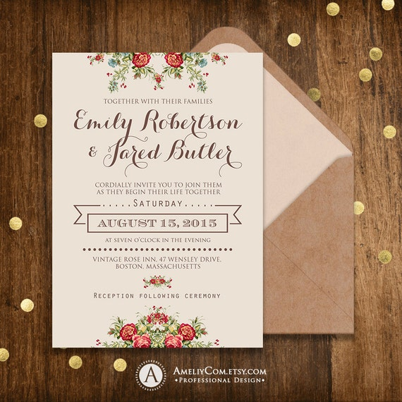 Armenian Wedding Invitations: Printable Wedding Invitation Rustic Shabby Chic Neutral Gray