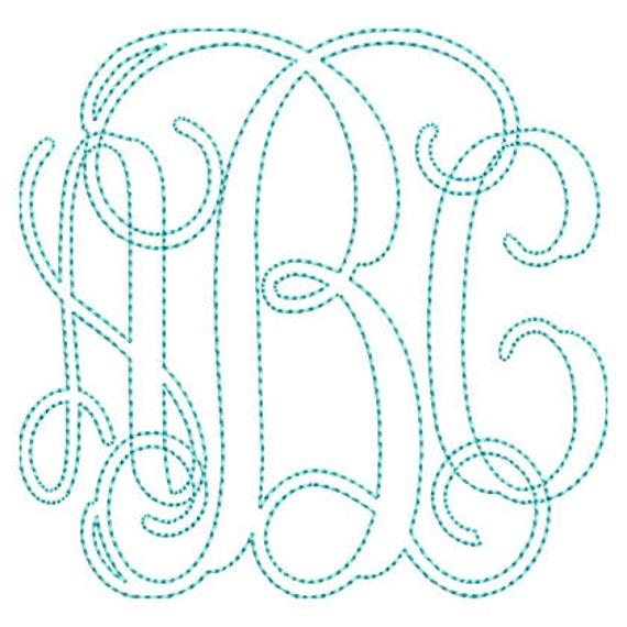 Vine Outline Monogram Embroidery Font Set Instant Download