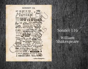 Sonnet 116 Printable, William Shakespeare Sonnet 116 Print, Valentine's Day, Anniversary Gift, Shakespeare, Love Poem, Hand Lettered Art