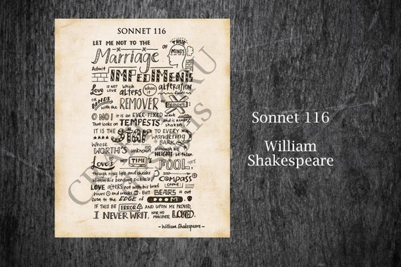 sonnet 116 by william shakespeare Annotations and exclamations on the poetry of william shakespeare first up in the shakespeare files: sonnet 116.
