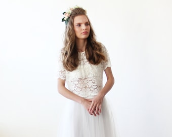 Lace Ivory short sleeves top , Ivory bridal lace top