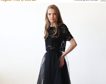 Black lace short sleeves top , Lace black sheer top