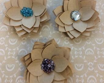 Final Sale - Kraft Paper Flower Pins