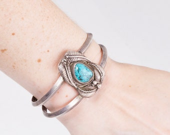 Turquoise Cuff - Vintage Navajo Sterling Silver Turquoise Cuff Bracelet