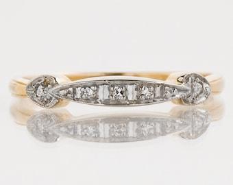 Vintage Wedding Band - Vintage 14k Yellow & White Gold Diamond Band