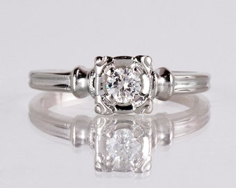 Antique Engagement Ring - Antique 1940s 14K White Gold Diamond Engagement Ring