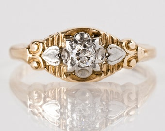 Antique Engagement Ring - Antique 1930s 14k White & Yellow Gold Etched Diamond Engagement Ring