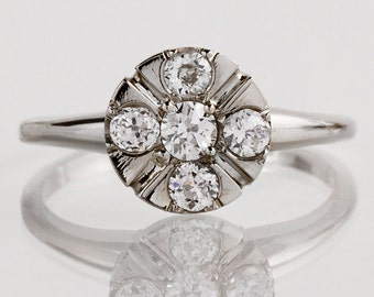 Vintage Engagement Ring - Vintage 1940's 14k White Gold Diamond Engagement Ring