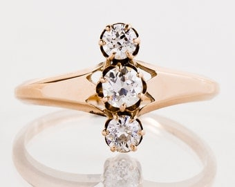 Antique Engagement Ring - Antique 15k Rose Gold 3-Stone Diamond Engagement Ring