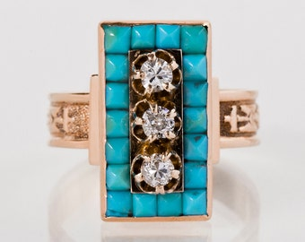 Antique Ring - Antique Victorian 14k Rose Gold Diamond and Turquoise Ring